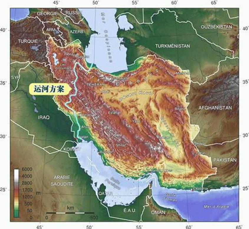 Canal from Caspian Sea to Persian Gulf